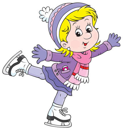 Little skater, Girl skating on ice Vector
