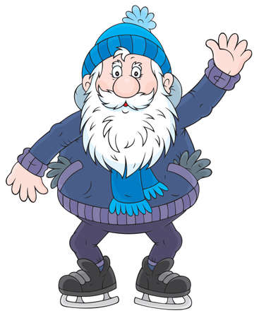 cartoon old man: Old man with a white beard skating on ice