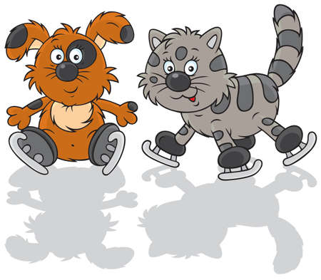 Dog and cat skaters Vector