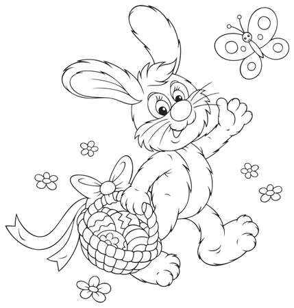 coloring easter egg: Easter Bunny walking with a basket of eggs Illustration