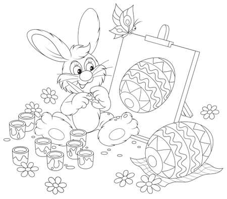 Easter Bunny drawing a decorated Easter egg  Vector