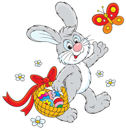 cartoon easter basket: Easter Bunny carries a basket of colorful eggs