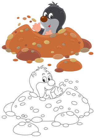 Little mole digging his hole Illustration