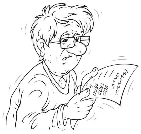 payable: Gastos de funcionamiento de los hogares, el hombre triste que sostiene un proyecto de ley Vectores