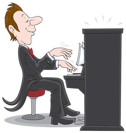 piano background: Pianist plays the piano
