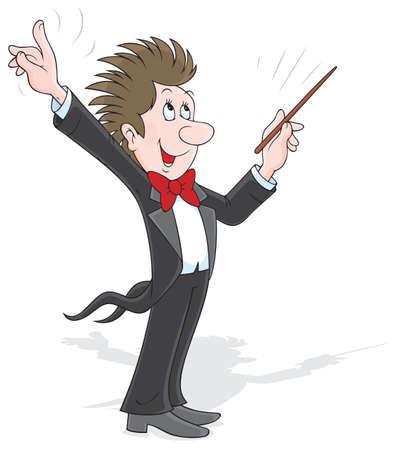 estafette stokje: Dirigent orkestreren met zijn stok Stock Illustratie