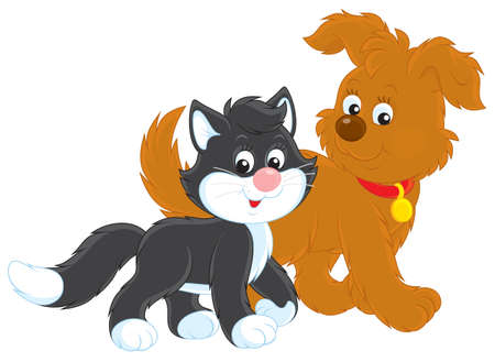 Dog and cat walk Vector