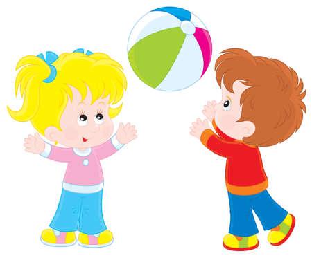 Niña y niño jugando una pelota de gran colorido Vectores