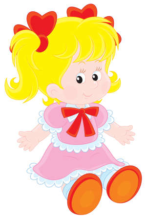 cartoon doll: Little girl in a pink dress with red bows