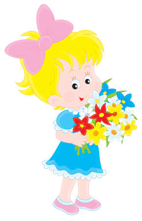 babie: Girl with flowers Illustration