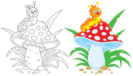 Caterpillar and fly agaric Vector