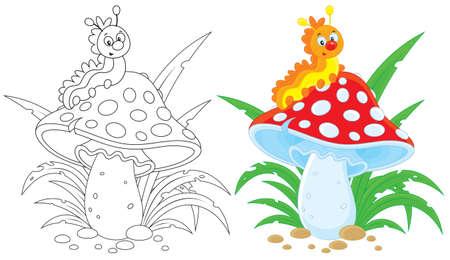 Caterpillar et amanite tue-mouches