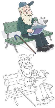 garden bench: Old man reading Illustration