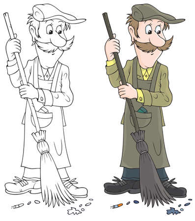 Yard cleaner sweeping with a broom Vectores