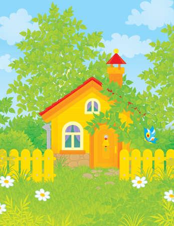 cottage fence: Village house