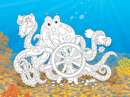Big spotted octopus with a steering wheel photo