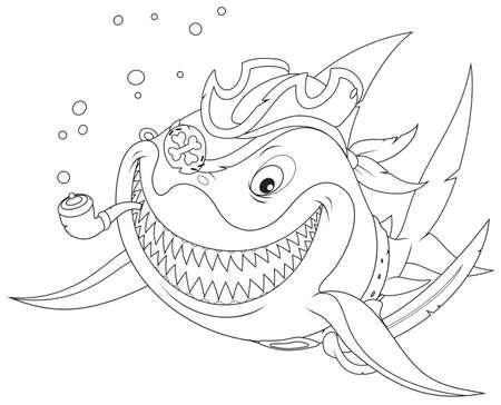 squalo bianco: Grande squalo bianco pirata Vettoriali