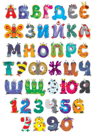Russian alphabet and numbers with monsters