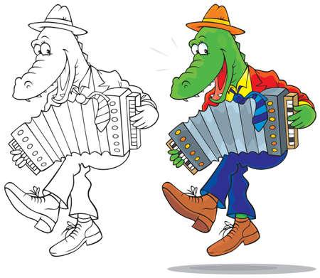 Coccodrillo divertente ballare e suonare una fisarmonica