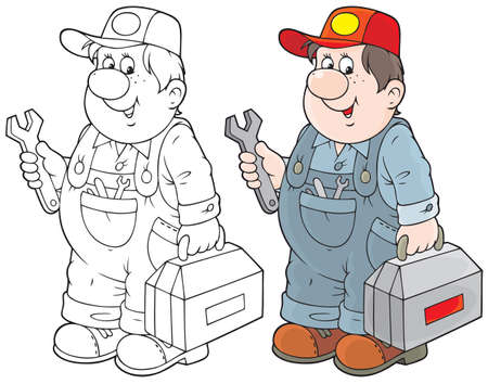 service technician with his toolbox