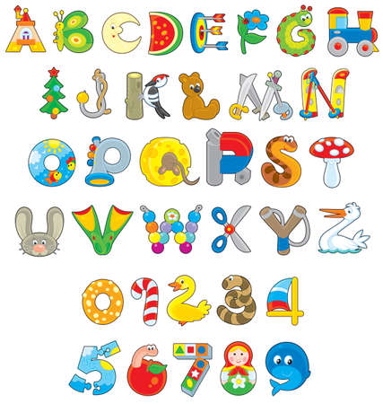 English alphabet and numerals with toys Vectores
