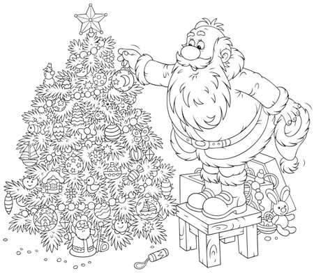 Santa decorates a Christmas tree Vectores