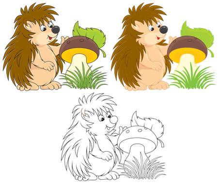 hedgehog with a big mushroom