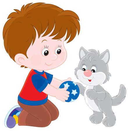 소년은 회색 고양이와 함께 재생