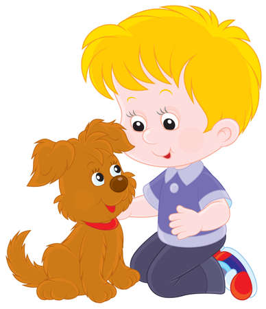 boy playing with a brown puppy