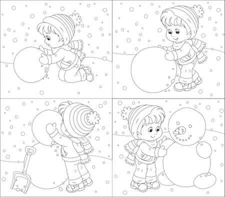 Kind maakt een sneeuwpop Stock Illustratie