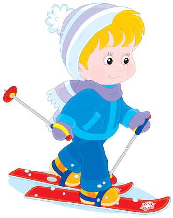Kind skiën Stock Illustratie