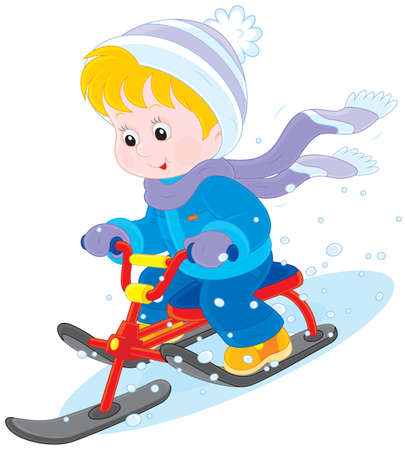 Child on a snow scooter Vectores
