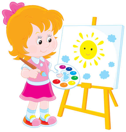 Girl drawing a picture with a smiling sun Vectores