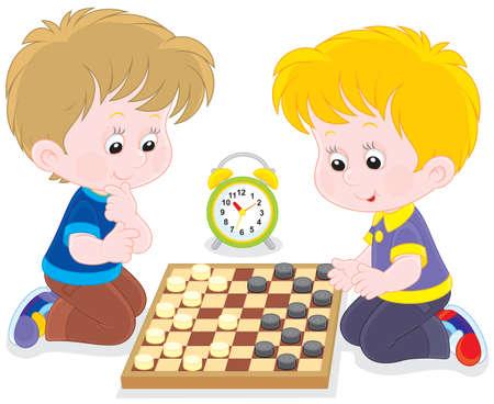jongens spelen checkers
