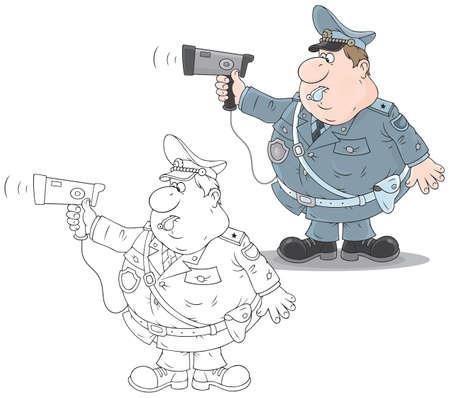 レーダーの交通警官  イラスト・ベクター素材