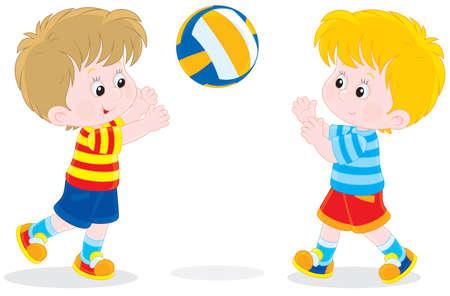 Little boys play a ball