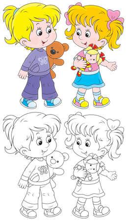 小さな女の子は人形とテディベアと遊ぶ  イラスト・ベクター素材