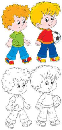 Kleine jongens gaan voetballen Stock Illustratie