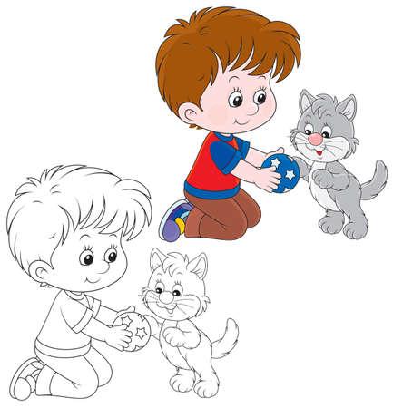 Boy and kitten Vectores
