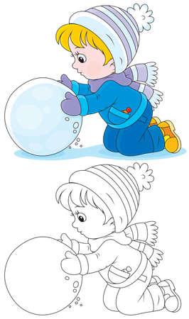 Child made a big snowball Vector Illustration