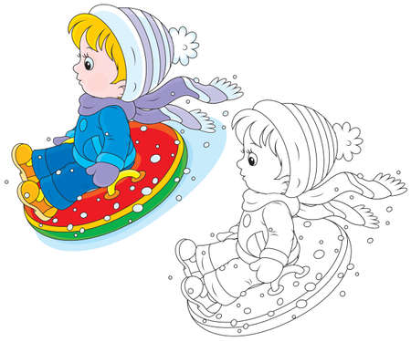 Child with an inflatable snow tube
