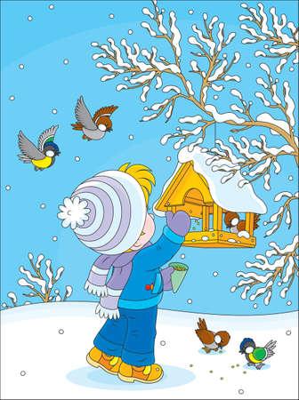 Little child adds food in a birdfeeder  Illustration