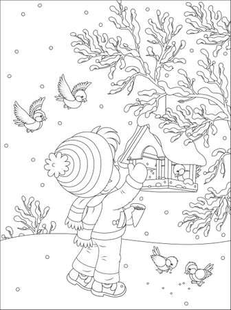 Kinder Feeds Vögel Standard-Bild - 24692021