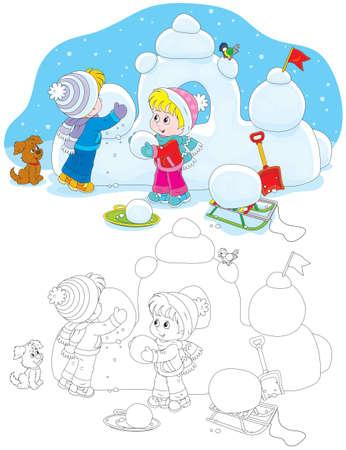 Children building a snow fort Vectores