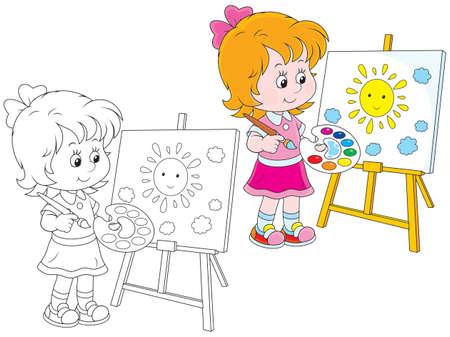Meisje tekening een foto met een glimlachende gele zon