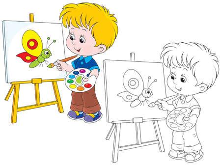 Little artist draws Vectores