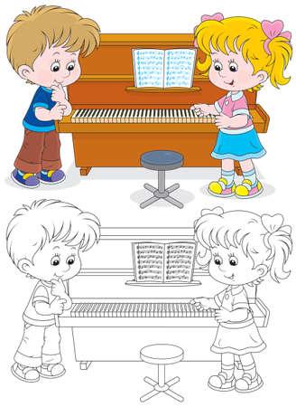 meisje en jongen spelen van een piano Stock Illustratie