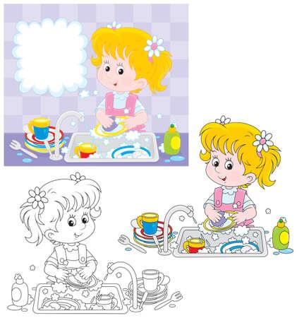 Los pequeños platos que se lavan de la muchacha en una cocina Ilustración de vector