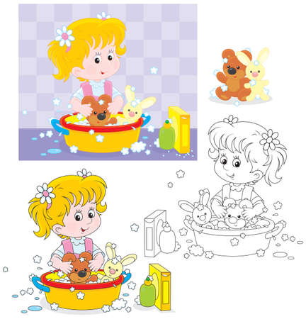 Little girl washing her toy bear and rabbit  Vectores
