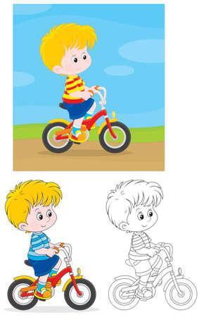 Little boy riding a bike